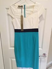 Hybrid Cream & Aqua Vesper Bodycon Dress Size 12 BNWT!