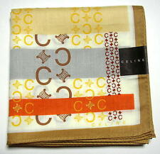 CELINE handkerchief hanky scarf bandana L Beige Logo Auth New Discontinued RARE