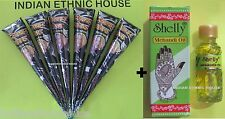6 NATURAL HENNA CONE + OIL natural heena color body tattoo paste herbal DIY kit