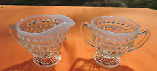Clear glass with blue rim beaded creamer  pitcher and sugar bowl 2 pc set