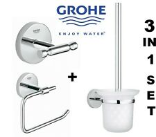GROHE BATHROOM CHROME 3IN1 SET ACCESSORIES  ROBE HOOK TOILET BRUSH ROLL HOLDER