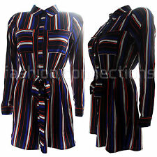 NEW WOMENS LADIES STRIPED BUTTON UP COLLAR PLAYSUIT SHIRT STYLE ALL IN ONE SIZE