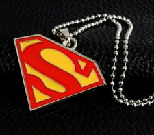 "Superman Bigger Pendant Necklace with 24"" Chain Super Man S Logo Silver Colour"