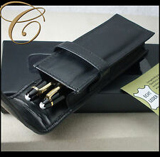 Etui für 2 Schreibgeräte / Stifte * SCHWARZ   NAPPA LEDER * Pen Pouch Leather