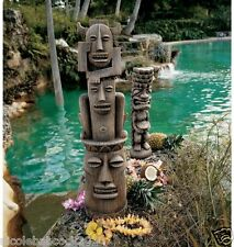 Set of 2: Polynesian Tiki Totem Poles Tropical Luau Exotic Sculpture South Seas