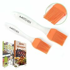mKitchen Orange Silicone Basting Pastry Oil Brush-Set of 2-Good for Grilling