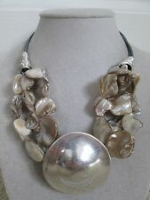 NWT Auth Robert Lee Morris Soho Silver Plated Beaded Disc Pendant Necklace $68