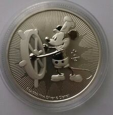 """2017 NZ-NIUE $2 MICKEY MOUSE """"STEAMBOAT WILLIE"""", 1 OZ BU-ST SILBER MIT KAPSEL"""