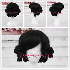 Sweet Charming HairStyle Curly Bob Black Gothic Lolita Wigs CC79+a wig cap