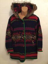 United Colors of Benetton Wool Coat Jacket Blazer Size 42. Parka Hood Fur S8
