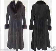 Vintage Black Leather Suede & Real Fur Long Winter Coat WOMENS M CANADA