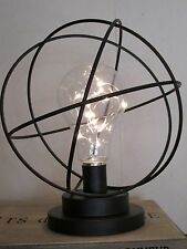 Rustic Black Metal LED Vintage Style Light Bulb Sphere Lamp Battery Operated