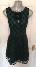 ❤ BE BEAU Gorgeous Size 12 Black & Teal Lace Evening Dress Lined FREE UK POSTAGE