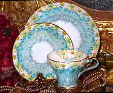 AYNSLEY DAISY PETALS FLORAL CHINTZ BLUE CORSET TRIO TEA CUP AND SAUCER -unused!