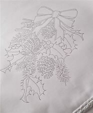 Printed Tablecloth to embroider Christmas Wreath white lace edge cotton CS0065