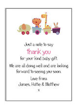 10 Personalised New Baby Shower 1st Birthday Party Animals Thank you Cards
