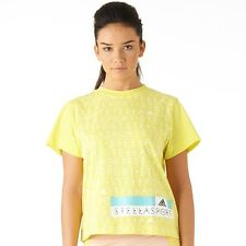 adidas Womens Stella McCartney top gym sport dance Yellow XS UK 6 RRP £29.99