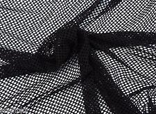 """Fishnet Stretchy Fabric Knit By the Yard BLACK 4 Way Stretch 61""""W 2/19/16"""