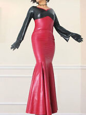 Latex Rubber Gummi Black and Red Elegant Skirt Beautiful Long Dress XS~XXL