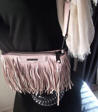 Rebecca Minkoff Finn Fringe Clutch/crossbody bag in vintage pink nubuck leather