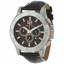 New Nautica N22620G Stainless Steel Brown Leather Men's Watch $225