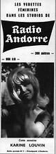▬► PUBLICITE ADVERTISING AD RADIO ANDORRE Karine Louvin 15 août 1965