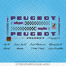 Peugeot PX/PY10 Bicycle Decals - Transfers - Stickers - Purple & Black - Set 752