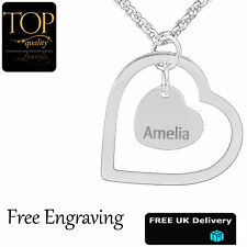 Double Love Heart Pendant Personalised Name Necklace Jewellery Silver Gold Gift