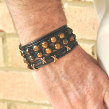 3 Bracelet Set -TIGER'S EYES Shamballa Wrapped Leather Copper Plating