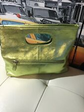 VALERIE STEVENS Shiny LIME METALLIC LEATHER CONVERTIBLE FOLD OVER EVENING CLUTCH