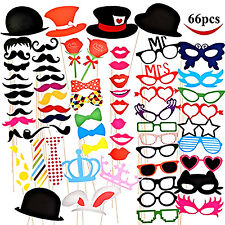 66 Psc Photo Booth Props Wedding Birthday Party Decoration Favor Stick Mustache