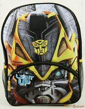 "2016 Brand New Transformers Big Face Bumblebee  16"" Large Kids Backpack light up"