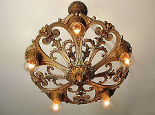 GORGEOUS! Antique MARKEL Light Fixture Original Polychrome Finish - Restored!