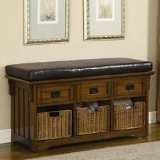 Small Oak Finish Storage Bench with Cushions and Baskets by Coaster 501061