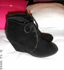 Black real suede wedge laced Boots SIZE: UK 7 EU 40