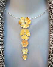 PILGRIM COLLAR NECKLACE JEWELRY SWAROVSKI CRYSTALS GOLD FLOWERS PENDANTS SILVER