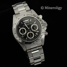 Invicta Speedway Chronograph Black Dial Tachymeter Stainless $355 Mens Watch NEW