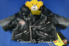 BUILD-A-BEAR NEW HARLEY DAVIDSON BLACK LEATHER MOTORCYCLE JACKET TEDDY CLOTHES