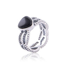 LOVE HEART Black Onyx Solid Authentic Sterling Silver Dress Ring Band Size 6