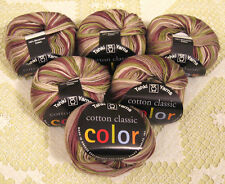 "6 Skein Lot--Tahki Cotton Classic ""115 Green Tan & Grey"" Yarn + Free Gift!"