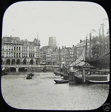 Glass Magic Lantern Slide ROTTERDAM THE OUDE HAVEN CANAL C1890 NETHERLANDS