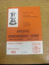 30/01/1968 Arsenal v Shrewsbury Town [FA Cup Replay] (Attendance Noted On Cover