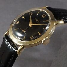 Rare 1950s Vintage Lord Elgin Solid 14K Yellow Gold Man's Black Dial Wrist Watch
