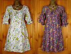 NEW WHITE STUFF IVORY WHITE GREEN MAUVE BROWN PINK FLORAL SUMMER TUNIC DRESS TOP