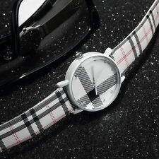 Fashion Plaid Leatheroid Watch Women Men's Sport Casual Quartz Wristwatch UL