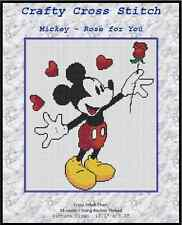 "Counted Cross Stitch MICKEY MOUSE ""A Rose for You"" - COMPLETE KIT #10-13 KIT"