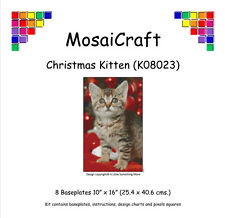 MosaiCraft Pixel Craft Mosaic Art Kit 'Christmas Kitten' (Incl. Dove Tail Clips)