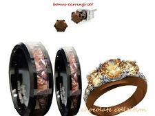 HIS 8mm AND HER TUNGSTEN 6mm CAMO BLACK AND BROWN WEDDING ENGAGEMENT RING SET