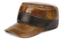 New Fashion Men's 100% Real Brown cowhide Leather Hat / Flat Beret / Golf cap