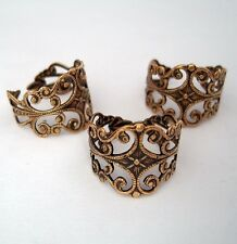Ring Base Adjustable Filigree Setting Antique Brass -2pcs.